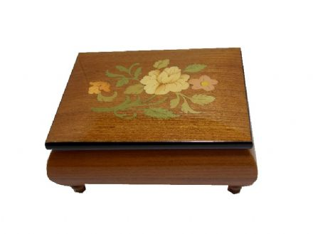 Elm Musical Jewellery Box With Flower Inlay MAD415FLELL